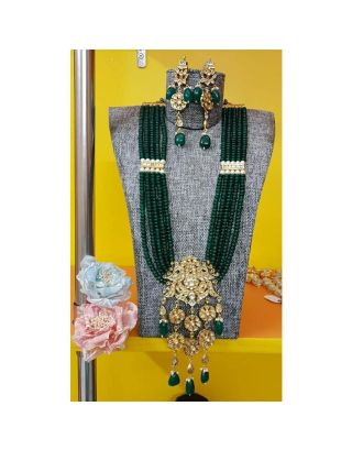 Green and Golden Kundan Necklace Set