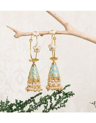 Light Blue Royal Gold Pearl Drop Jhumkas