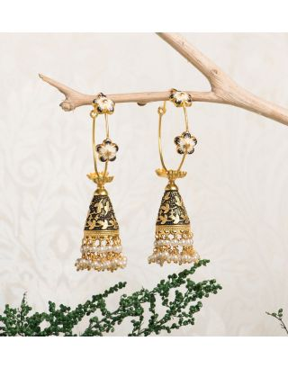 Black Royal Gold Pearl Drop Jhumkas