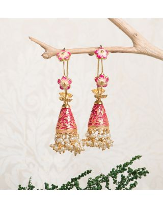 Magenta Royal Gold Pearl Drop Jhumkas