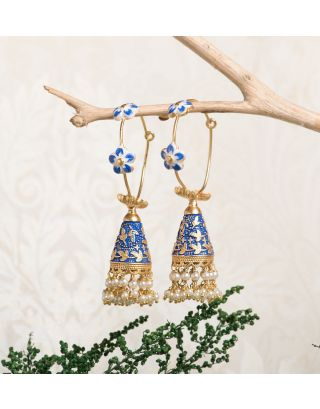 Blue Royal Gold Pearl Drop Jhumkas