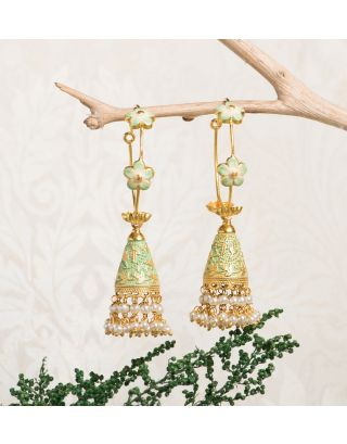 Mint Green Royal Gold Pearl Drop Jhumkas