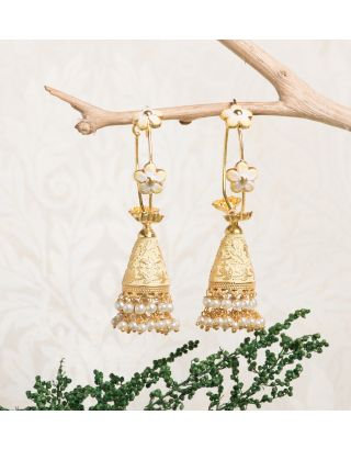 Off White Royal Gold Pearl Drop Jhumkas