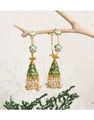Green Royal Gold Pearl Drop Jhumkas