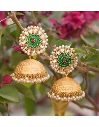 Gold and Green Jhumka Earrings