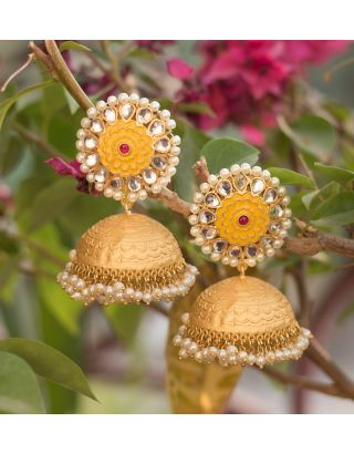 Gold and Yellow Jhumka Earrings
