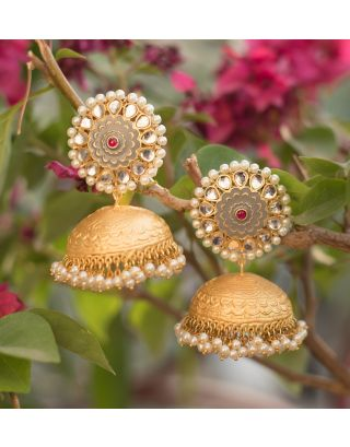 Gold and Grey Jhumka Earrings