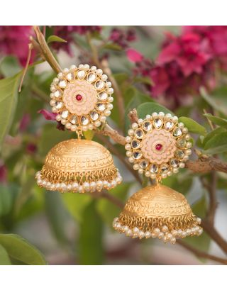 Gold and Pink Jhumka Earrings