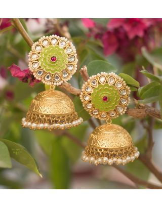 Gold and Lime Green Jhumka Earrings