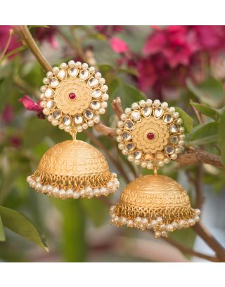 Gold and Off White Jhumka Earrings