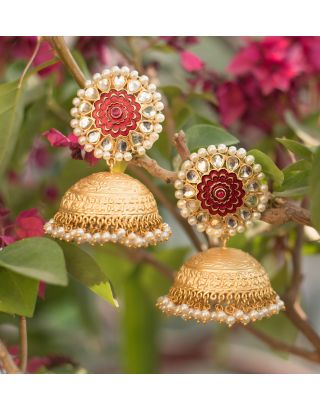 Gold and Red Jhumka Earrings