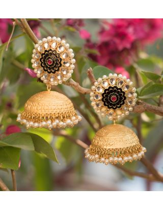Gold and Black Jhumka Earrings