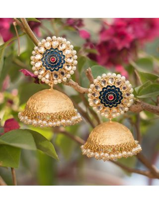 Gold and Blue Jhumka Earrings