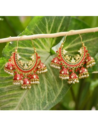Red Cluster Bali Earrings
