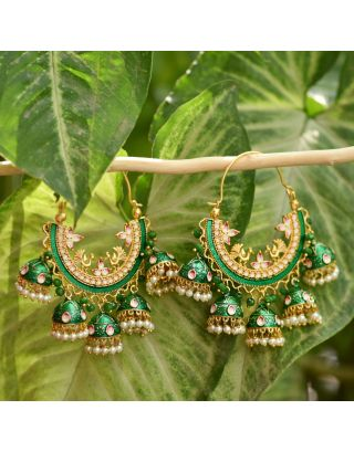 Green Cluster Bali Earrings
