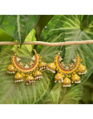 Yellow Cluster Bali Earrings