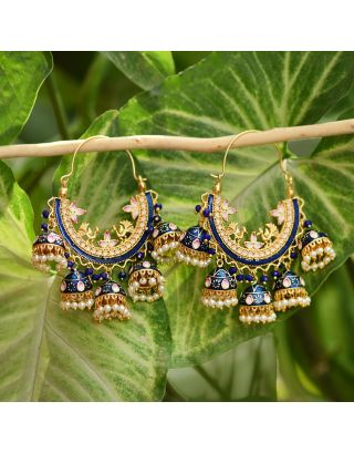 Blue Cluster Bali Earrings