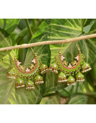 Lime Green Cluster Bali Earrings