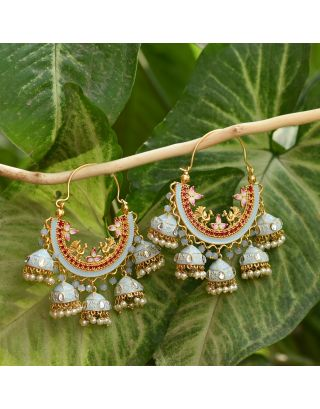 Light Blue Cluster Bali Earrings