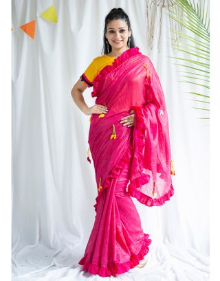 Pink Handmade Cotton Saree with Blouse