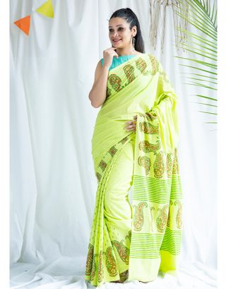 Green Printed Cotton Saree
