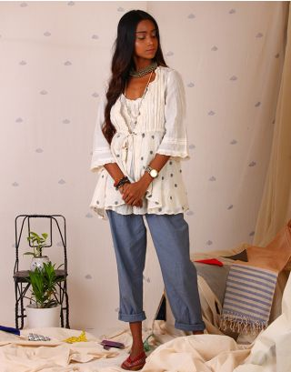 White Wrap Top with Grey Polka Dots