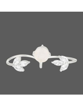 White Stone Two Finger Ring