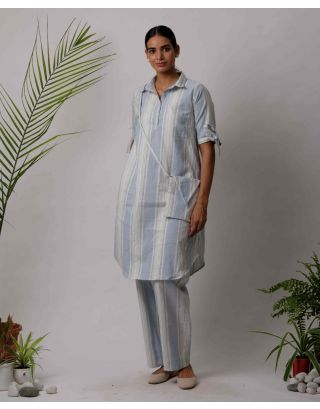 Sky Blue Collar Striped Kurta Pants Set
