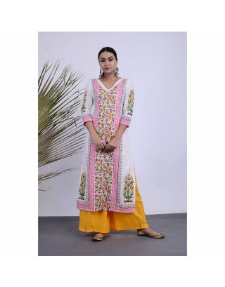Yellow and White Floral Printed Kurta Palazzo Set