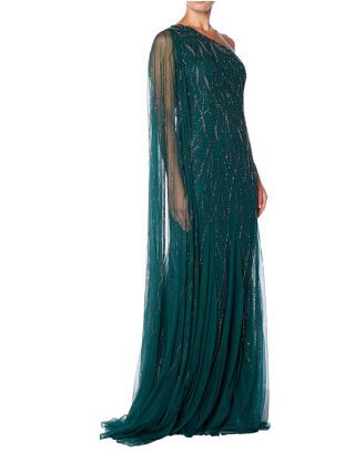 Green One Shoulder Maxi Gown
