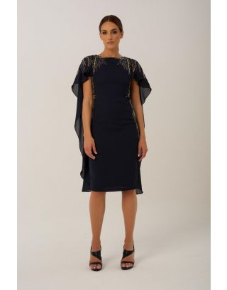 Navy Embellishment Midi Dress with Cape
