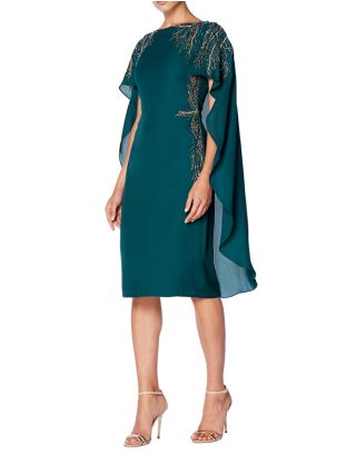 Green Embellishment Midi Dress with Cape