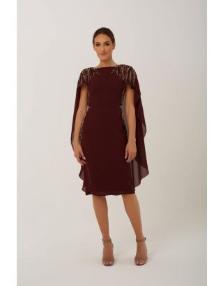 Burgundy Embellishment Midi Dress with Cape