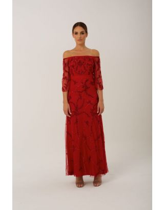 Red Poppy Maxi Gown