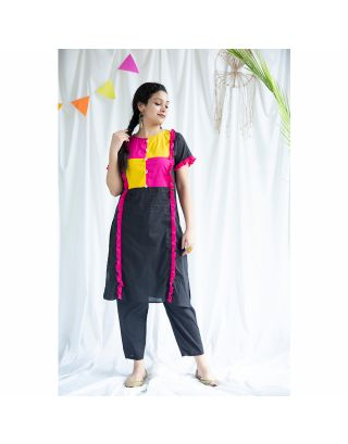 Black Patch Work Kurta Set