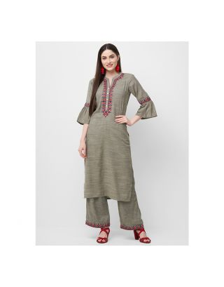 Olive Green Embroidered Kurta Palazzo Set