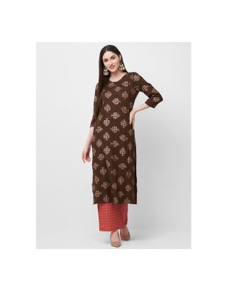 Brown Printed Kurta and Red Palazzo