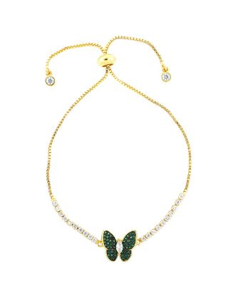 Gold Plated Green Butterfly Bracelet
