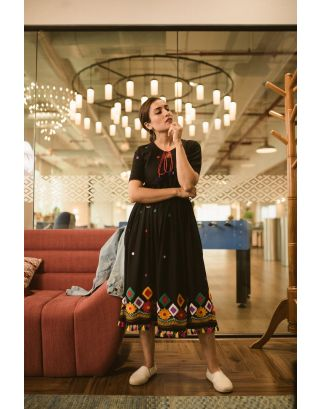Black Embroidered Banjara Dress