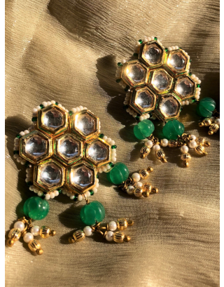 Beehive Studs With Green Melon Stones