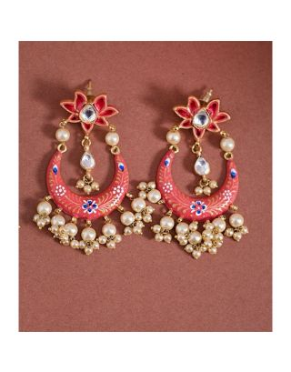 Pink Crescent Floral Top Earrings