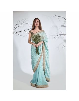 Turquoise Georgette Handwoven Chanderi Saree