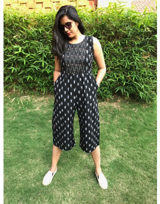 Black and White Ikat Jumpsuit