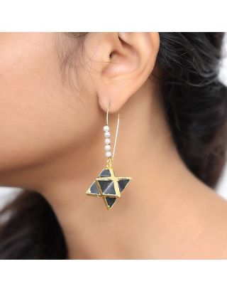 Black Star Loop Earrings