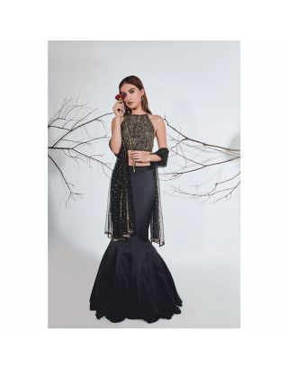 Black Georgette Lehenga Set
