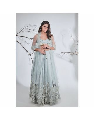Blue and Grey Embroidered Lehenga Set