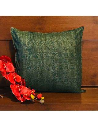 Block Printed Grey and Green Cushion Cover