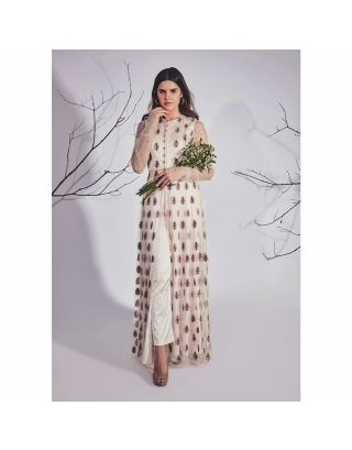Off White Thread Embroidered Kurta Pants Set