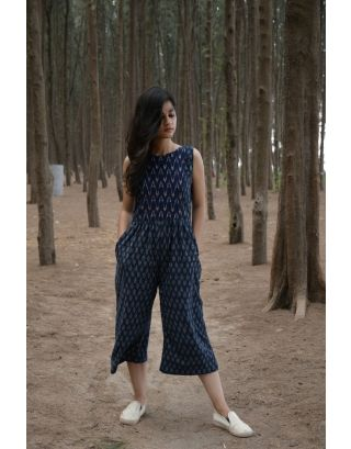 Blue and White Ikat Jumpsuit