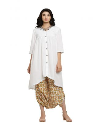 White Kurta and Orange Printed Harem Pants